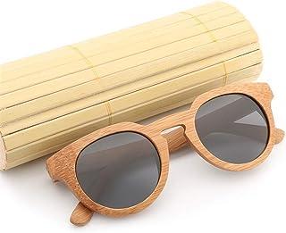 6d4111ae91 HUBINGRONG Gafas Handmake de Madera para Mujer Bisagra de Metal Gafas  polarizadas Gafas de Sol Redondas