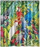 DAMEILIN Dameiilin Duschvorhang, 152,4 x 182,9 cm, Papageien-Motiv, wasserdichtes Polyester-Gewebe (Duschringe im Lieferumfang enthalten)