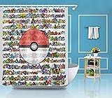 Hividd Duschvorhang Pokemon SetDuschvorhang Badematte Teppich Wasserdichtes Gewebe Dekor 3484 180 * 180 cm