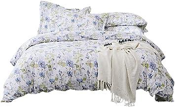 Lausonhouse Cotton Quilt Cover Set,100% Cotton Floral Printing Doona Cover Set - Queen Doona Cover Set