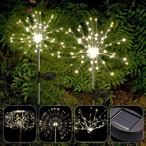 APERIL Solarleuchte Garten, 2 Stück 150 LED Warmweiß Feuerwerk Licht Wetterfest Solarlampen Außen Gartendekoration Funkeln und Dauerlicht 2 modi für Garten Balkon Rasen Feld Terrasse Weg