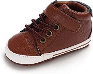 TIMATEGO Baby Boys Girls Shoes Slip On Sneaker Non Slip Soft Sole Infant Toddler First Walker Crib Dress Shoes(0-18 Months) 12-18 Months Infant, 02 Brown Baby Shoes