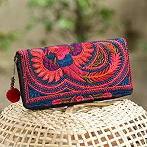 Changnoi Fair Trade Bohemian Wallet/Purse for Women with Tribal Hmong Embroidered and Pom Pom Zip Pull in Red from…