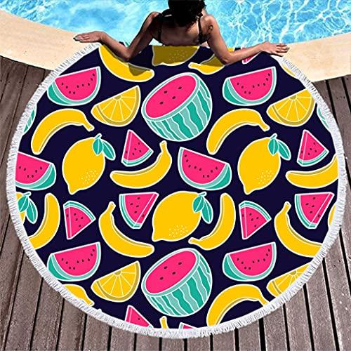 Rtisandu Toallas de playa redondas, plátanos, sandías, frutas, absorbentes, toallas, colchonetas de yoga, unisex, color blanco, talla única