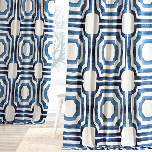 HPD Half Price Drapes PRTW-D23B-84 Printed Cotton Curtain (1 Panel), 50 X 84, Blue