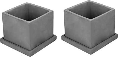 MyGift 5-inch Dark Gray Cement Cube Planters with Removable Trays, Set of 2