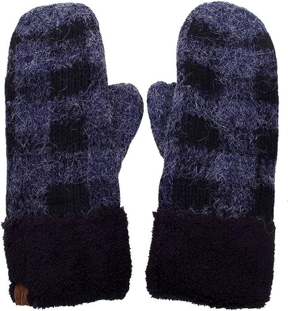 ScarvesMe Buffalo Check Plaid Pattern Fuzzy Fleece Inside Warm Winter Gloves Mittens