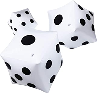 Dados Grandes Hinchables 12 Pulgadas Blancos Dado Inflable Grande para Juego Piscina Juguete Favores de Fiesta (Blanco, 3 Piezas)