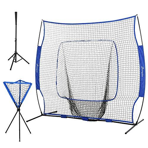 Soozier 7.5'x7' Baseball Practice Net Set w/Catcher Net & Tee Stand, Pitching, Fielding, Practice...