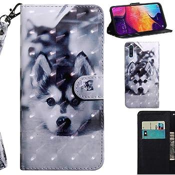 Loup #1 Galaxy A50 /Étui en Cuir /à Rabat avec Fermeture magn/étique et Emplacements pour Carte CAXPRO Coque pour Samsung Galaxy A50 3D Motif Portefeuille Coque
