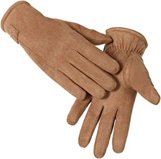 YSNJXB 手袋 アウトドアスポーツ用スマートグローブ スエードの男性のスポーツの手袋の秋と冬の防風暖かいプラスベルベット厚いタッチスクリーン乗馬のオートバイの韓国語版 ーブガソリンスタンド、ドライアイス、冷蔵、工業用手袋 (Color : Brown)
