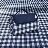 Gingham Picnic Blanket Camping Mat Outdoor Picnic Mat ,57'x79' Waterproof Sandproof Beach Blanket,Foldable Travel Blanket Portable Handy Mat ,Picnic Pack Tote -Blue