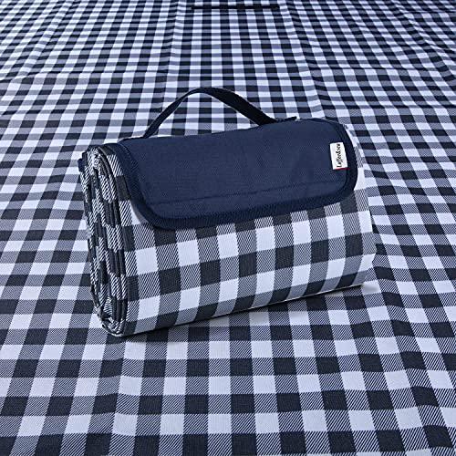 Loffee&sea Klassische Picknick- und Outdoor-Decke mit Gingham-Muster, Stranddecke, faltbar, sanddicht und wasserdicht, für Camping, Reisen, tragbar, handlich, Blau