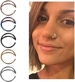 5PCS Stainless Steel Moon Nose Ring Hoop Indian Nose Ring Septum Ring Nose Jewelry Nose Piercing Small Nose Hoop
