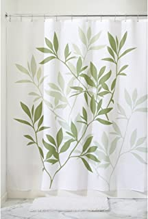 """iDesign Leaves Fabric Shower Curtain – Stall, 54"""" x 78"""", Green"""