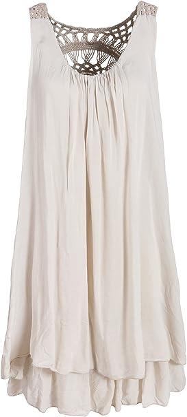 Italienische Mode Sommerkleid Mit Spitze Am Rucken Tunikakleid Knielang Beige 38 40 Amazon De Bekleidung