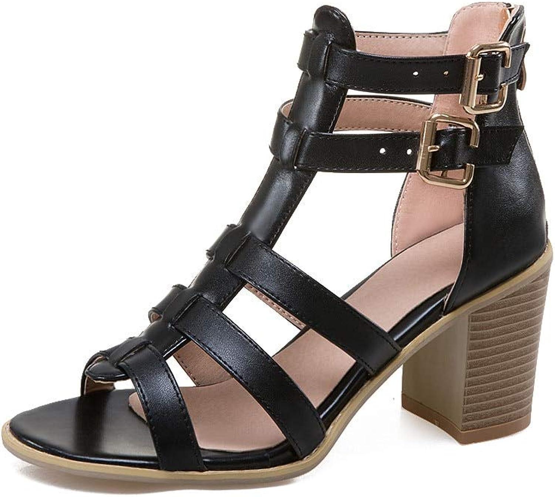 MENGLTX High Heels Sandalen Neue Ankunft Frauen Sandalen Mode Punk Lssige Damen Schuhe Schnalle Feste Sommer Schuhe Komfortable High Heels Schuhe
