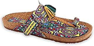 Colour Me Mad Multicolour Aztec Soft and Mushy Floral Finish Printed to Soothe Your Nerves, Natural Cork, Washable, All Weather, Vegan, Made in India, PETA Certified, Women Sandals (Toe Separator)