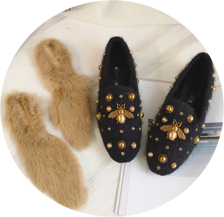 Fur Loafer Flats Women Bee shoes Furs Winter shoes Women Ballerina Flats Casual Ballet Flat