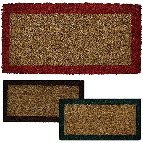 Parpyon® Felpudo para entrada de casa clásico, 27 x 70 cm, alfombra antideslizante felpudo de coco para interior, felpudo de exterior, alfombras modernas, felpudos (rojo) 27 x 70 cm