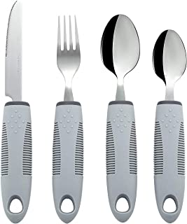 Homvare Adaptive Utensils (4-Piece Kitchen Set) Wide, Non-Weighted, Non-Slip Handles for Hand Tremors, Arthritis, Parkinson's or Elderly Use - Stainless Steel Knife, Fork, Spoons