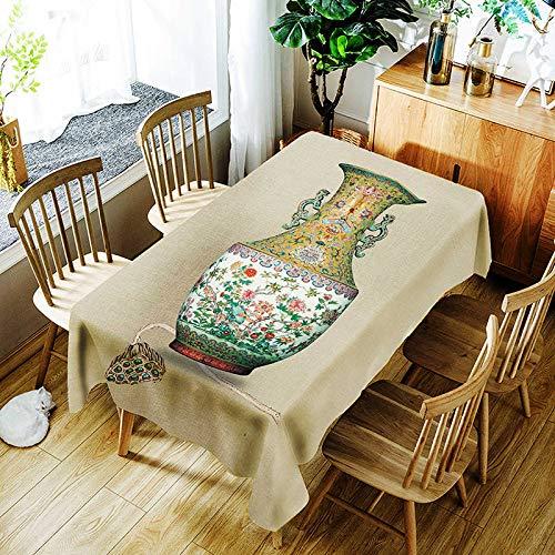 XXDD Mantel con patrón de Loto Creativo florero clásico Paisaje cómodo Mantel Impermeable hogar A7 135x160cm