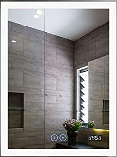 D-HYH 24 x 32 in Vertical LED Bathroom Mirror with Anti-Fog and Clock Function (DK-D-N031-CW)