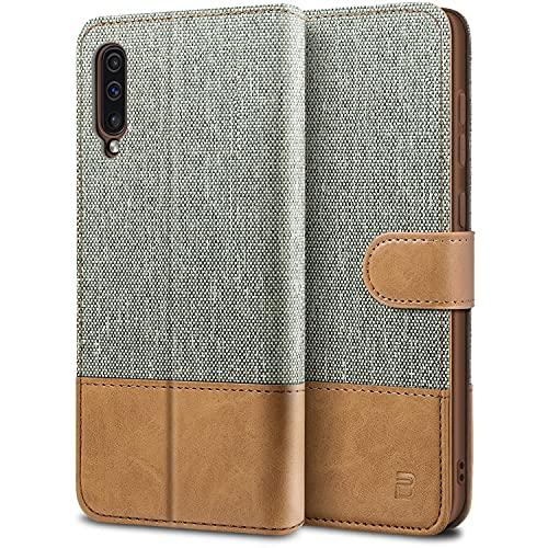 BEZ Handyhülle für Samsung Galaxy A50 Hülle, A30s Hülle, Tasche Kompatibel für Samsung Galaxy A50/ A30s, Schutzhüllen aus Klappetui mit Kreditkartenhaltern, Ständer, Magnetverschluss, Grau