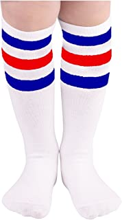 Zando Kids Child Cotton Three Stripes Sport Soccer Team Socks Uniform Tube Cute Knee High Stocking for Boys Girls