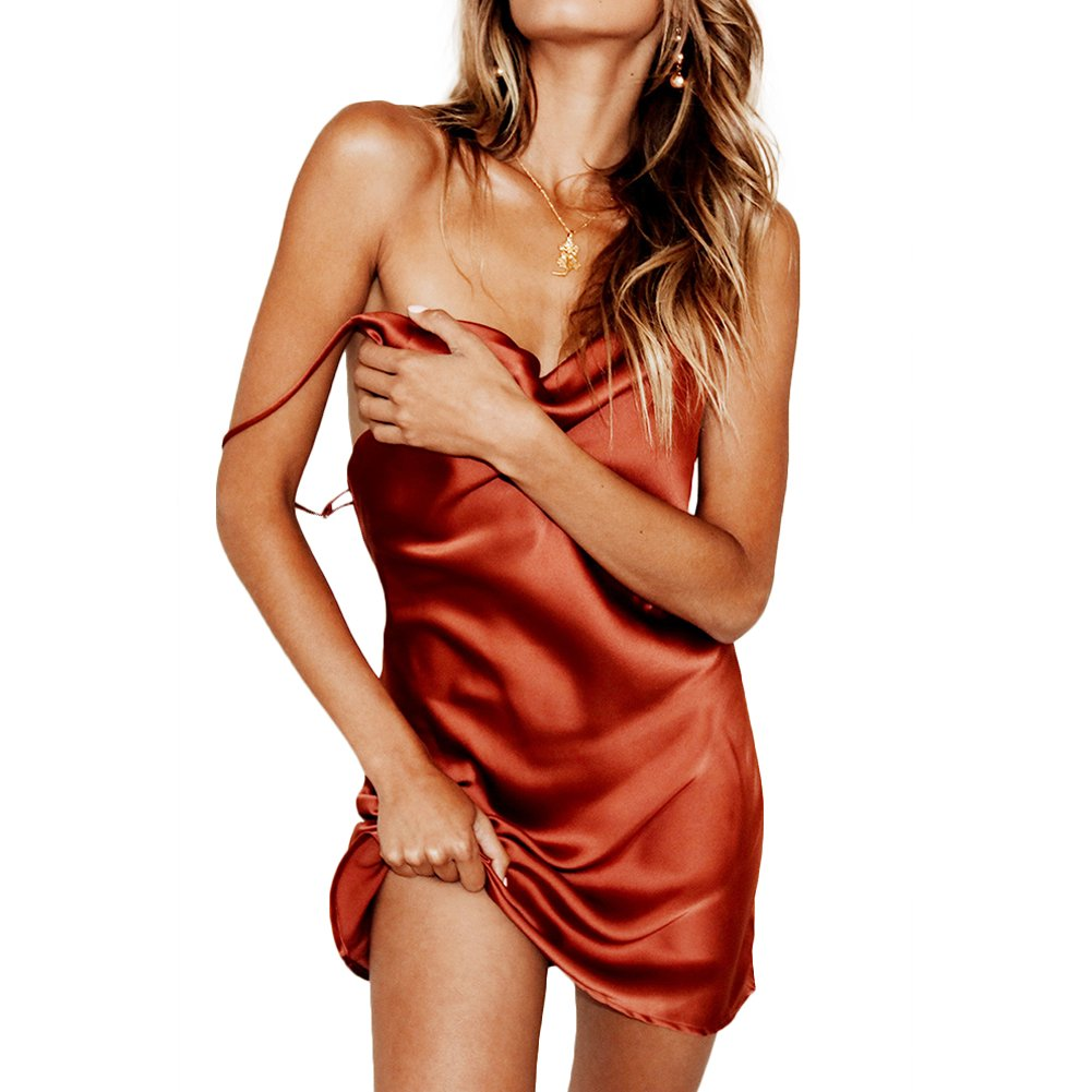 Available at Amazon: CHICFOR Spaghetti Straps Satin Dress Sleeveless Open Back Dress Casual Short Dress