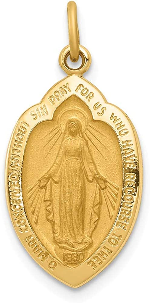 Solid 14k Yellow Gold Miraculous Medal Pendant Charm (12mm x 24mm)