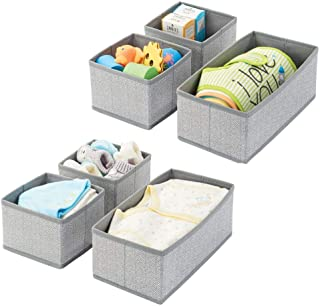 mDesign Soft Fabric Dresser Drawer and Closet Storage Organizer for Kids/Toddler Room, Nursery, Playroom, Bedroom - Herringbone Print - Organizing Bins in 2 Sizes - Set of 6 - Gray