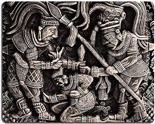 Mauspad Naturkautschuk Mousepad Gipsbild mit Darstellung des alten militanten mexikanischen Stammes der Azteken