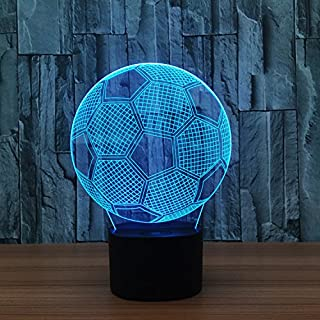 Yaeer 3D Glow LED Night Light Sport Element 7 Colors Lamp Touch Switch Decorative Table Light Birthday Gift (Footable)