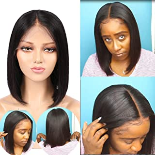 Mssugar 13x6inch Short Bob Lace Front Wig Human Hair Wigs Pre Plucked 150% Density With Baby Hair For Women 12 inches