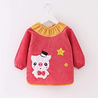 1-3 Year Old Baby Eating Bib With Sleeve Thickening Crystal Velvet Long Sleeve Waterproof Bib For Infant Toddler (Color : ...