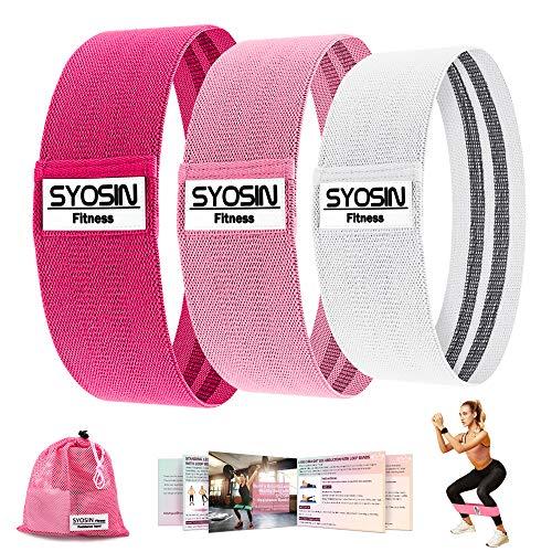 SYOSIN Bande de Résistance 3 Niveaux de Force,Bande Élastique Fitness en Tissu (3 Set) Équipement...
