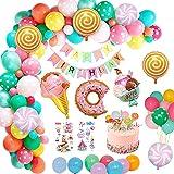weeyin Decoration Anniversaire Enfant Fille, Kit anniversaire fille avec bannière Happy Bithday Decoration, glacée Bonbons Ballons anniversaire fille pour Filles Anniversaire Candyland Réutilisable
