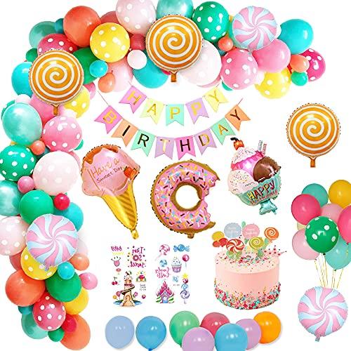 weeyin Decoraciones fiesta Cumpleaños Candyland,Fiesta de cumpleaños decoracion con pancarta de feliz cumpleaños Caramelo Donut Helado Globo De Aluminio para Niñas Niños Fiestas Infantiles Decoracion