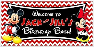 Mickey and Minnie Birthday Banner Personalized Party Backdrop Decoration