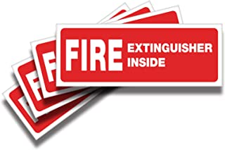 Fire Extinguisher Inside Signs Stickers – 4 Pack 8x3 Inch – Premium Self-Adhesive Vinyl, Laminated for Ultimate UV, Weathe...