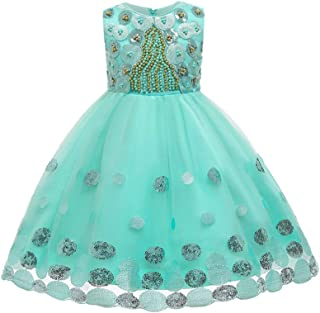 TOYANDONA Princess Tulle Tutu Pageant Girl Dress Sleeveless Sequins Pearl Tutu Skirt for Birthday Wedding Party Dress Fancy Dress Up Outfits Green 110cm