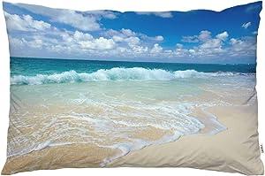 EKOBLA Throw Pillow Cover Beautiful Beach Summer Ocean Sea Tropical Space Coast Sand Water Seasonal Holiday Decor Lumbar Pillow Case Cushion for Sofa Couch Bed Standard Queen Size 20x30 Inch