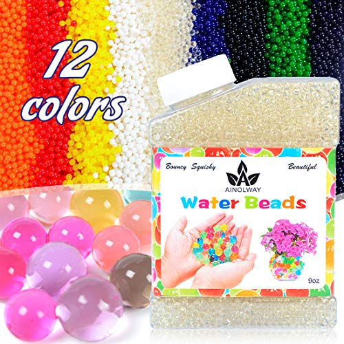 AINOLWAY High Elastic Water Beads Gel Pearls Jelly Crystal Soil for Vase Fillers (9 Oz, Clear)