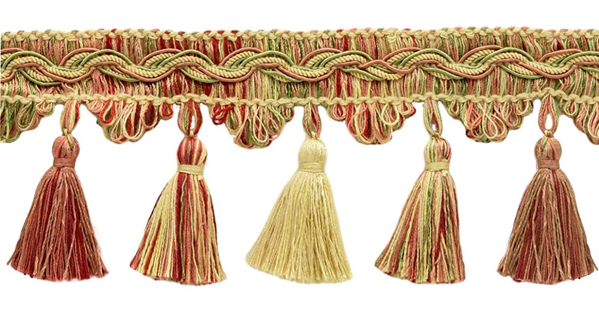 DecoPro 5 Yard Value Pack of Veranda Collection 3.5 Inch Tassel Fringe Trim - Pastel Green, Yellow Maize, Light Brick Red, Style# VTF035, Color: Daylily Bouquet - VNT8 (4.5M / 15 Ft)