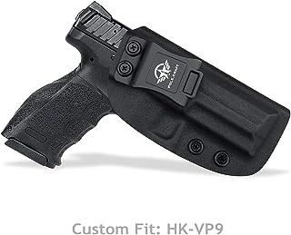 HK VP9 Holster IWB Kydex For Heckler & Koch (H&K) HK VP9 VP9SK Concealed Carry - Inside Waistband Carry Concealed Holster VP9 HK VP9SK IWB Pistol Case Kydex - Cover Mag-Button, No Wear, No Jitter