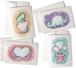 Adorable Dinosaurs with Hearts Greeting Card Variety Pack - Hand-Drawn Dinosaur Cards for School Valentine's - 24 Cards with Envelopes