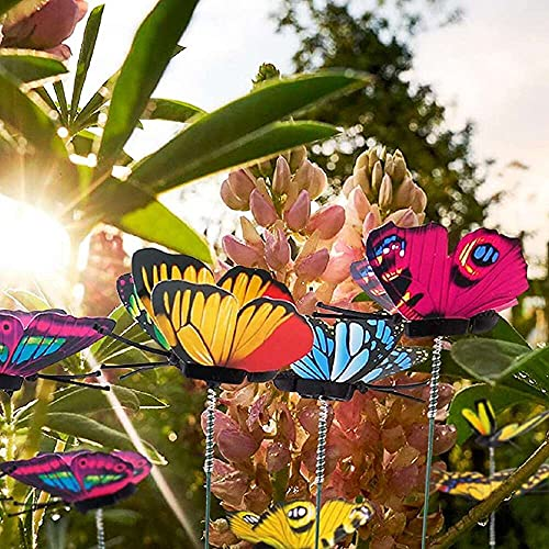 zhaita 50pcs Butterfly Stakes Outdoor Yard Ornaments Planter Flower Pot Bed Garden Decor Butterflies Christmas Tree Decorations Patio Plant Pot