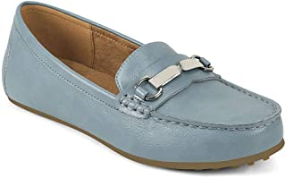 Aerosoles womens Loafer, Mocc Driving Style Loafer, Mid Blue, 8.5 Wide US
