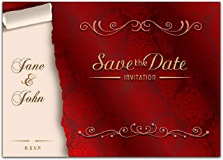 Elegant Brocade Red Save the Date Card Wedding Invitation